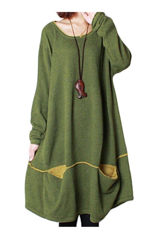 445ad6cfed5e9 Mordenmiss Women s Daily Knitwear Spring Loose Sweater Dress Green ...