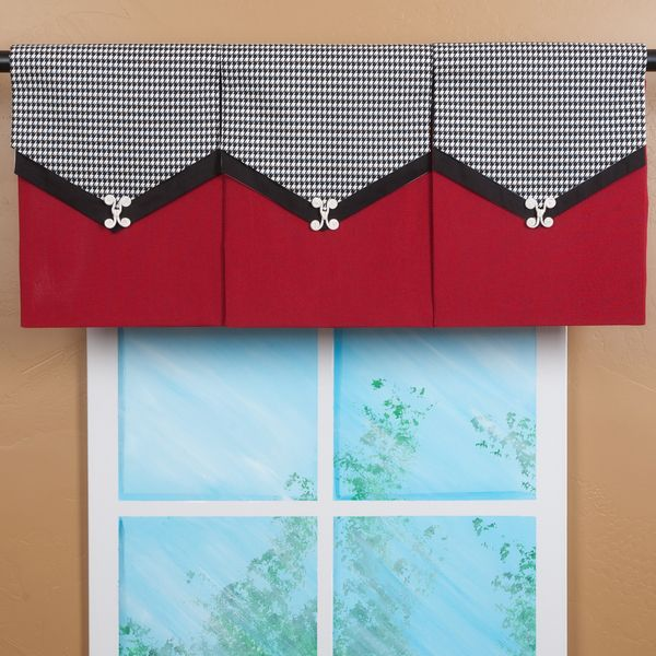Kitchen Window Cornice: Design Your Valance Houndstooth 3-Panel Valance In 2019