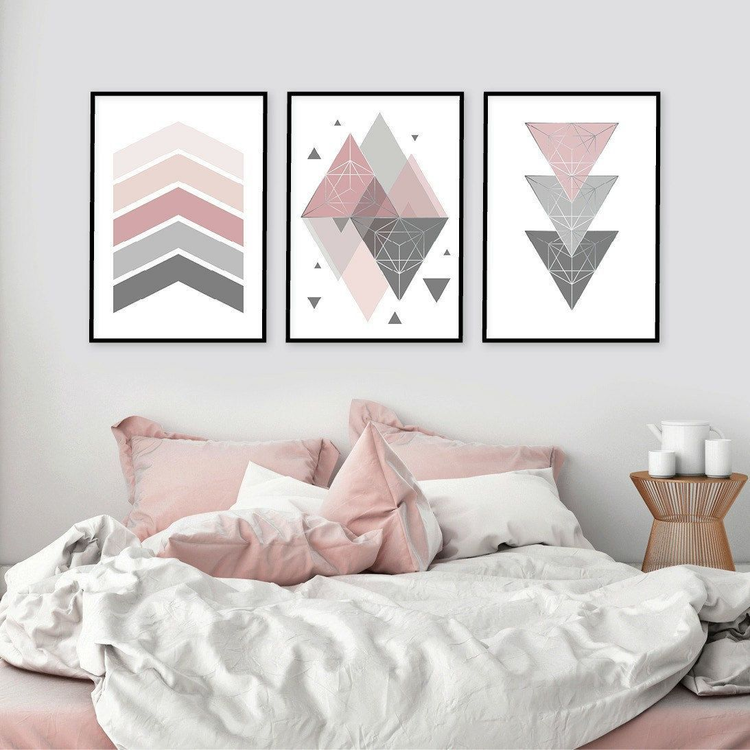 Pink and grey set of 3 printable nursery posters Downloadable Scandinavian geometric prints dusky pink pale grey Scandi modern nursery decor images