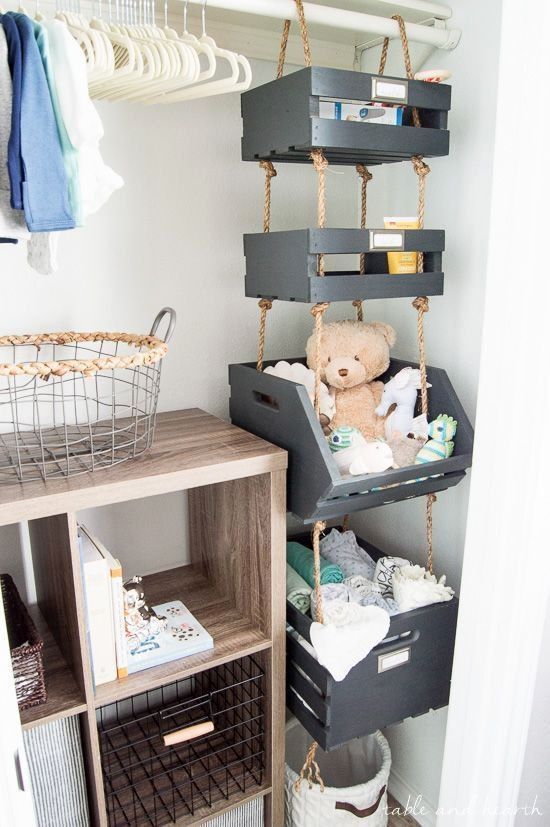 Hanging Closet Storage Crates Closet In 2019 Baby Bedroom Crate Storage Closet Storage