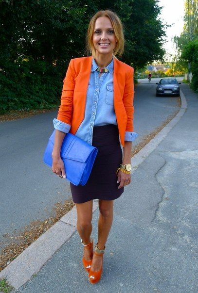 denim shirt, orange jacket, mini skirt, handbag, sandals, golden bracelet watch