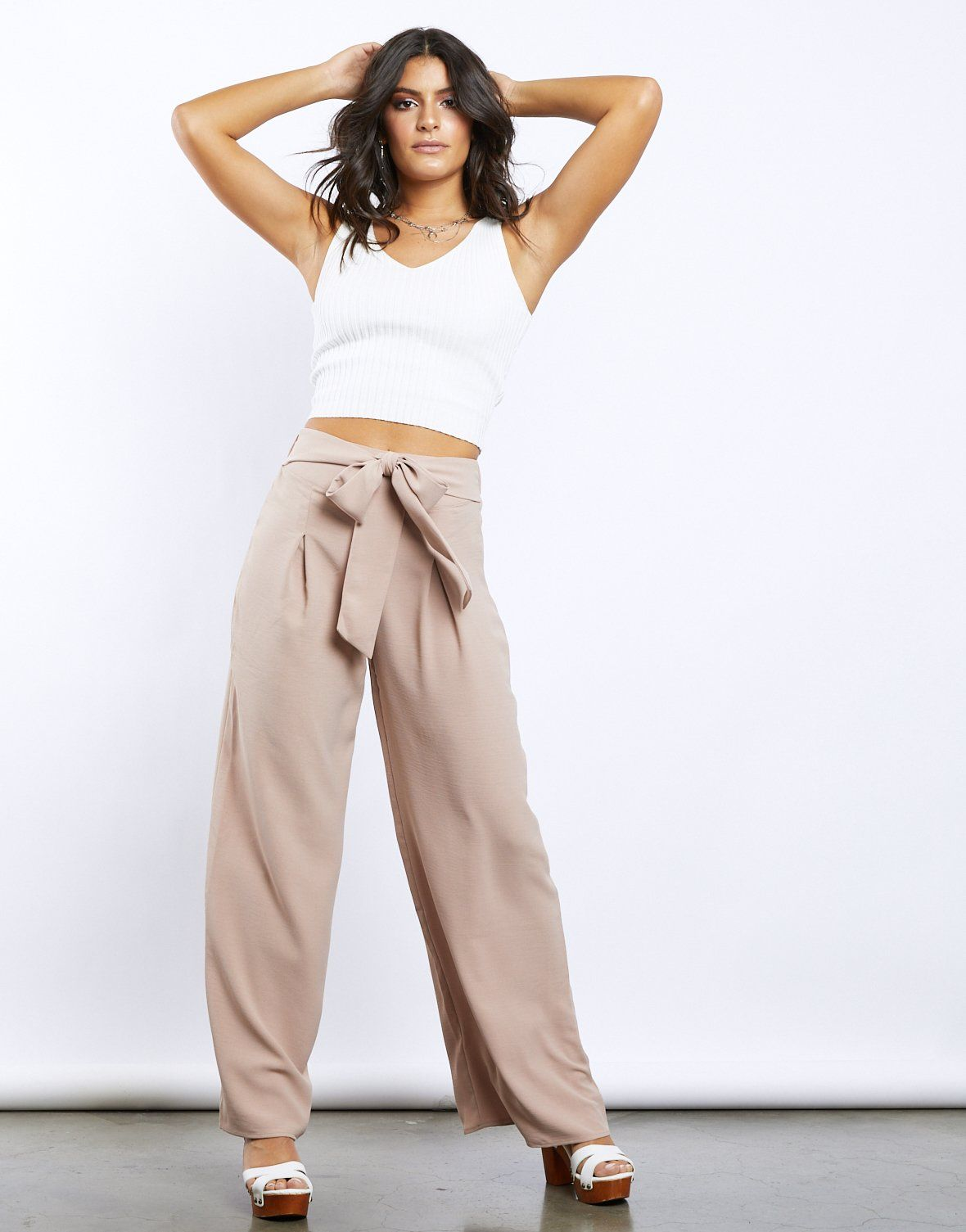 Palm Desert Wide Leg Pants | High waisted tie pants, Casual