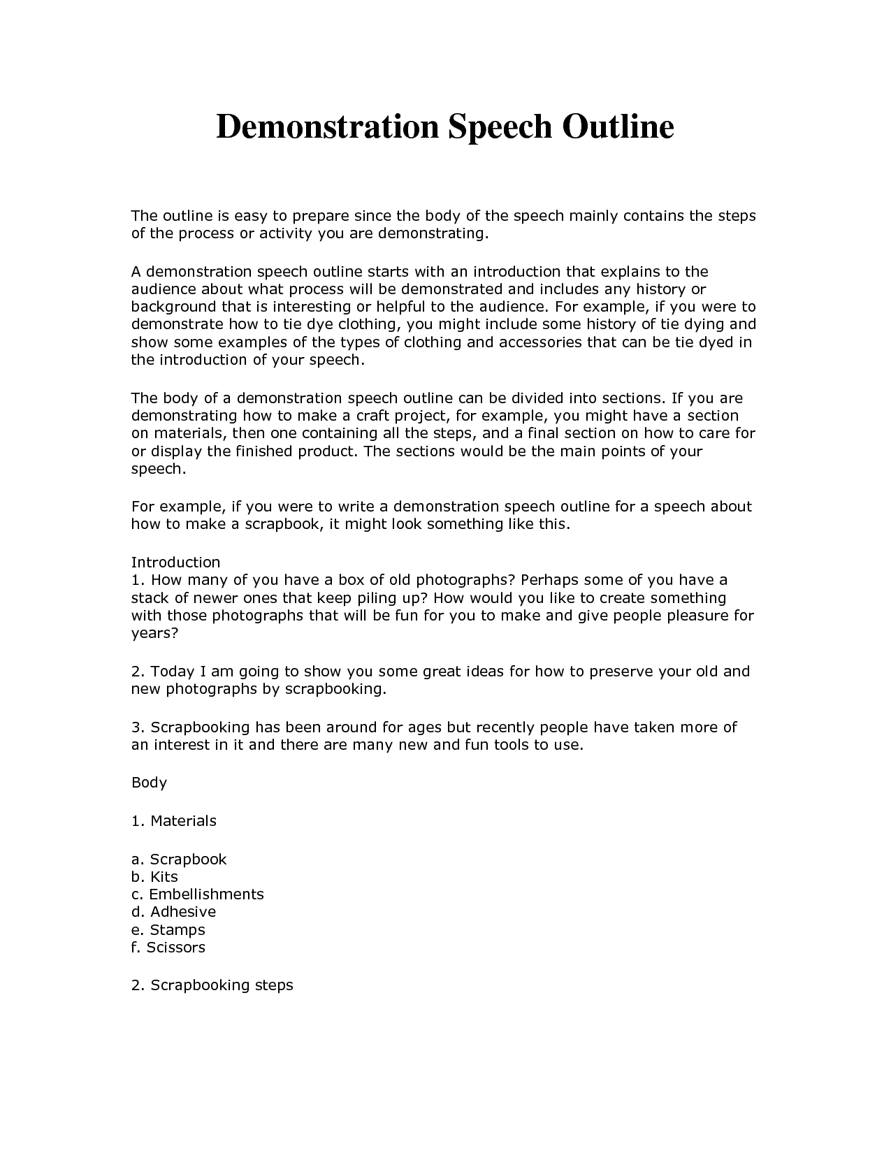 demonstrative speech outline template - Google Search | school ...
