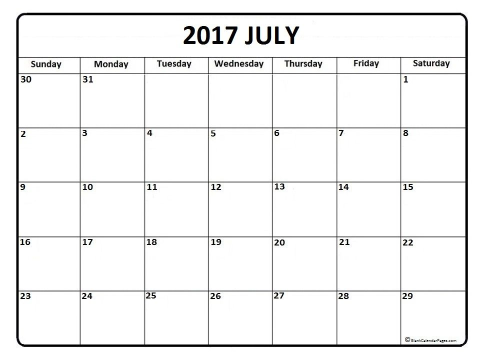 July calendar 2017 printable and free blank calendar Printable - quarterly calendar template
