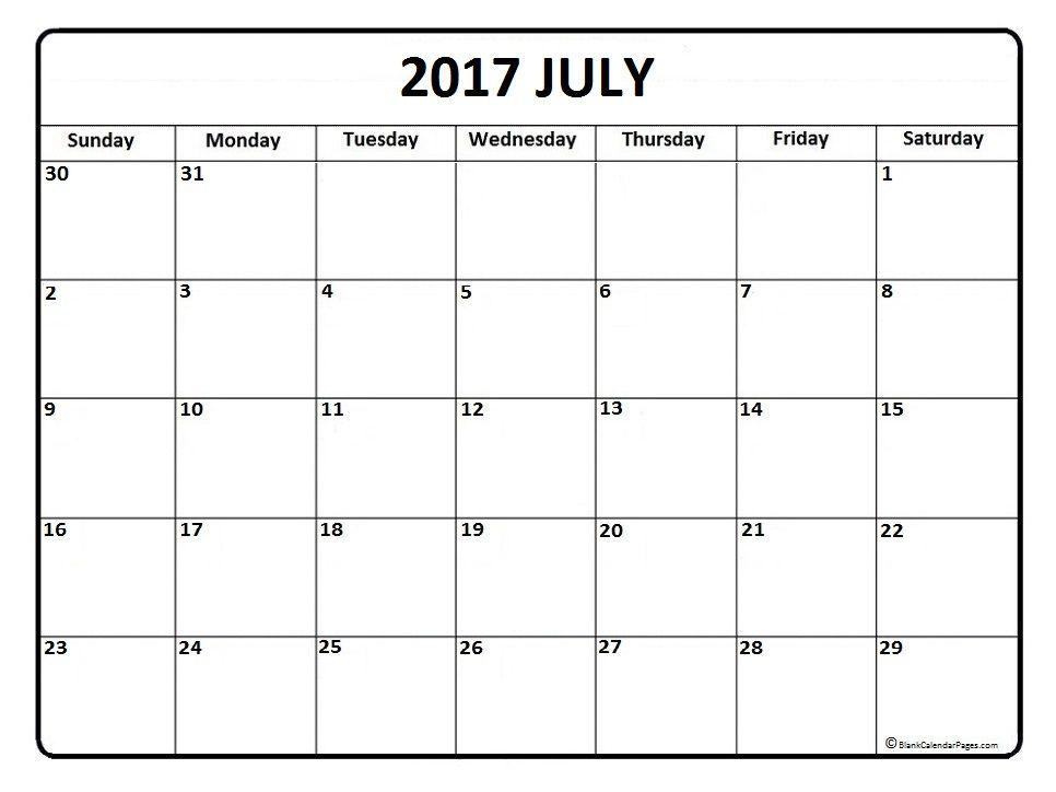 Blank Calendar July 2017 – September Calendars