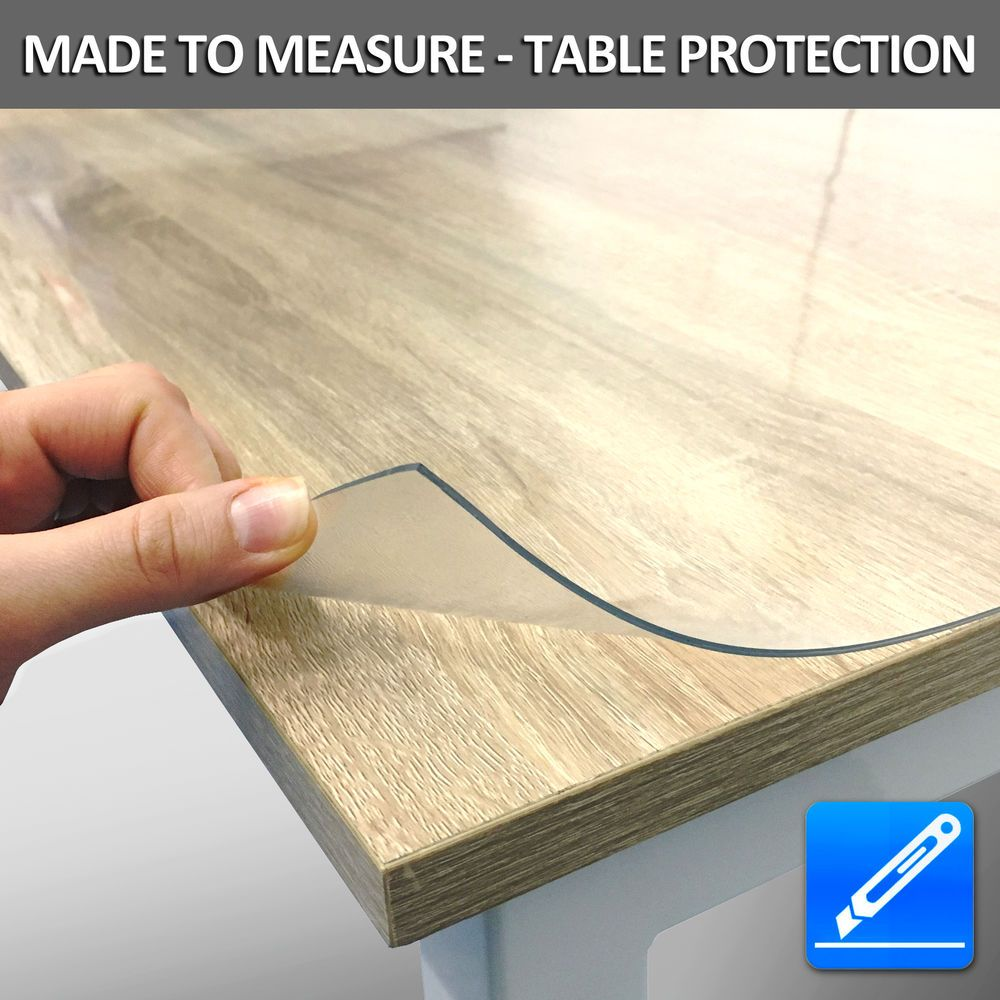 Plastic Table Cover Desk Protector Roll 2mm Transparent Pvc 100cm Wide Ebay Plastic Table Covers Plastic Tables Table Covers