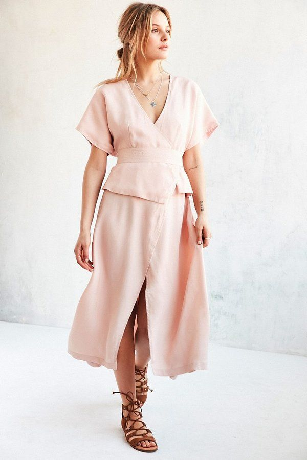 278107ed75c3 Shakuhachi Isabelle Kimono-Sleeve Wrap Dress - Satin kimonosleeve midi dress  in a peplum wrap silhouette by Shakuhachi. Features an Aline skirt