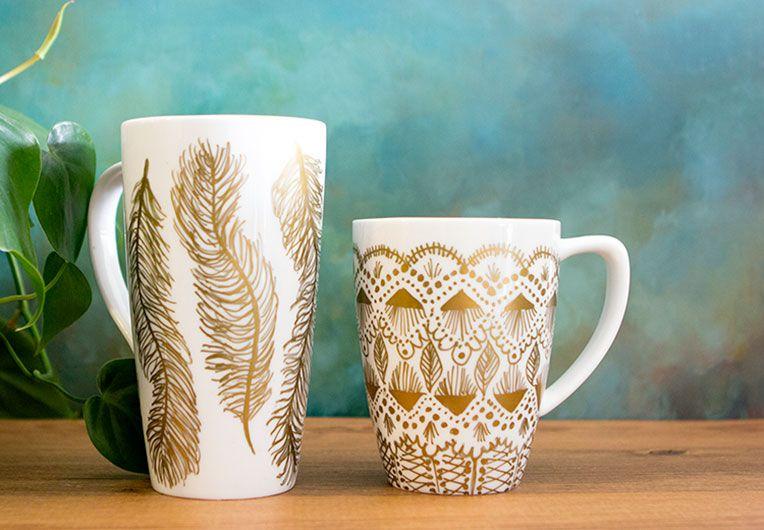 smart idea porcelain coffee mugs. diy design mugs DIY Mug Makeover  SISOO Sharpies Project Ideas Pinterest