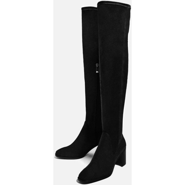 STRETCH HIGH HEEL OVER - THE-KNEE BOOTS-SHOES-TRF | ZARA United States (685 SEK) ❤ liked on Polyvore featuring shoes, boots, above the knee boots, high heel boots, above knee boots, over the knee high heel boots and over knee boots