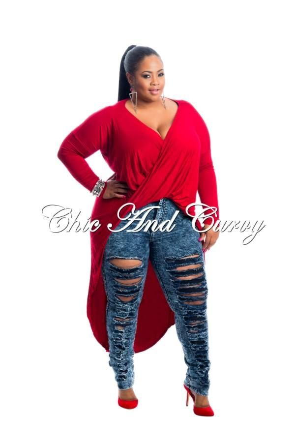 e9450acb4b Chic And Curvy · New Arrival Long Sleeve Top with Twist Front and Tail in  Red Available at: http