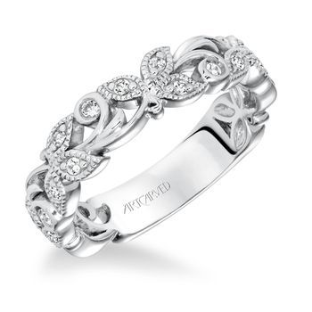 Leaf Vine Diamond Anniversary Band By Artcarved 33 V9137 L Diamond Anniversary Bands White Gold Diamond Engagement Ring Blue Diamond Engagement Ring