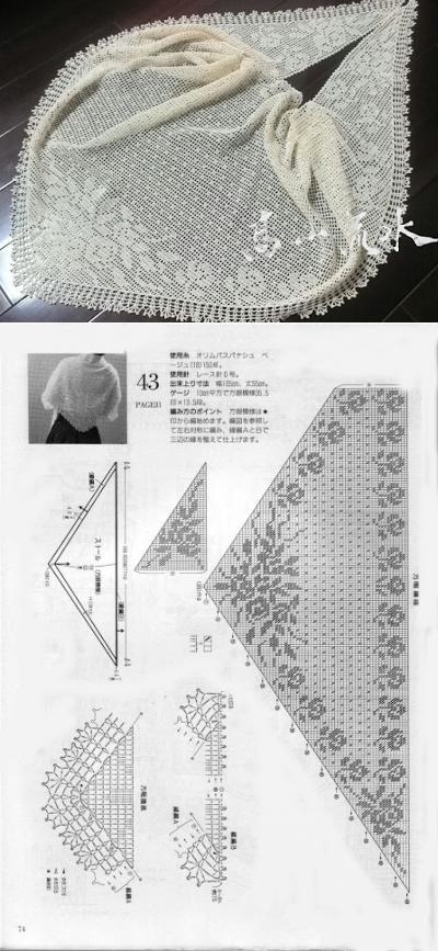 Crochet Knitting Handicraft: Crochet Shawl with roses // Лариса ...