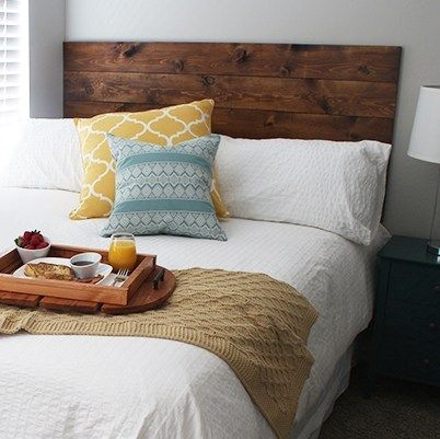 Easy DIY Headboard Hung Using Command Strips images