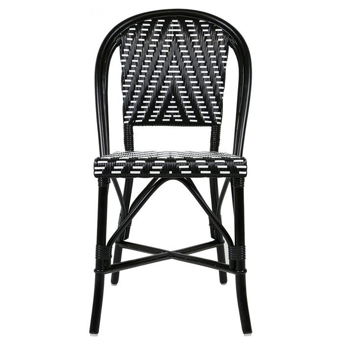 Inside Round Rattan Accent Chair: Black And White Mediterranean Bistro Round Back Chair (L