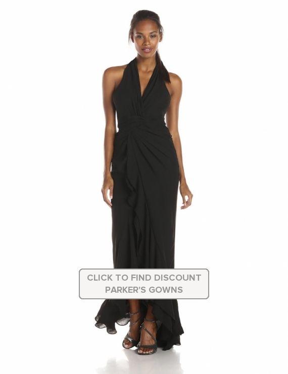 Parker #Womens Century #Halter #OpenSlit Long #Evening Gown #Black ...