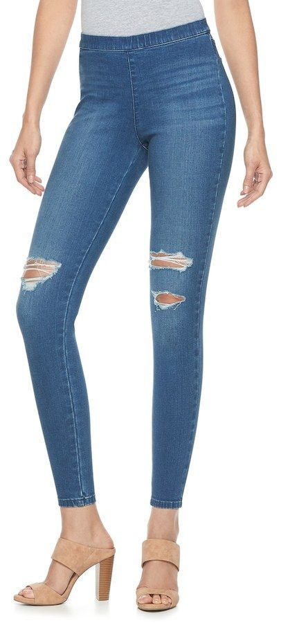 d66293defccd01 Petite Jennifer Lopez Ripped Pull-On Jeggings | Products | Jeggings ...