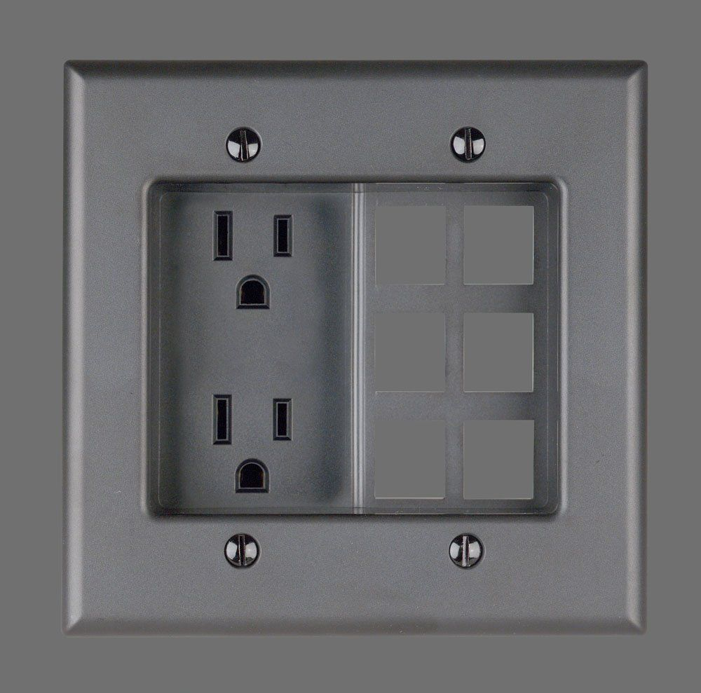 Leviton 690-E 15 Amp, 2 Gang Recessed Device with Duplex Receptacle ...