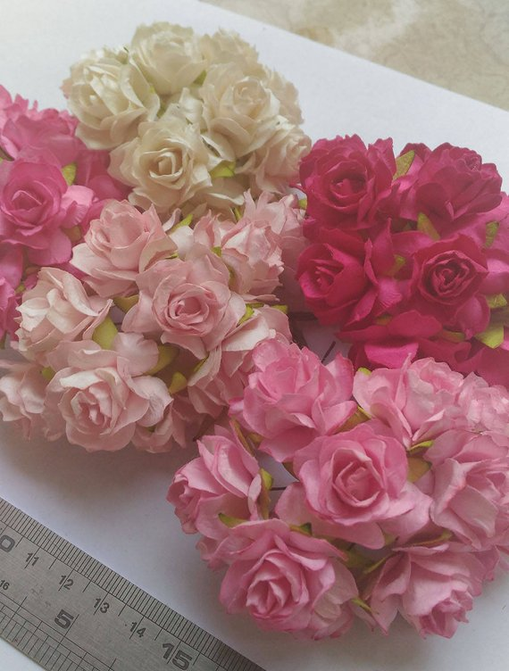 50 Mixed Pink Tone Color Big Mulberry Roses Paper Flowers Size 3
