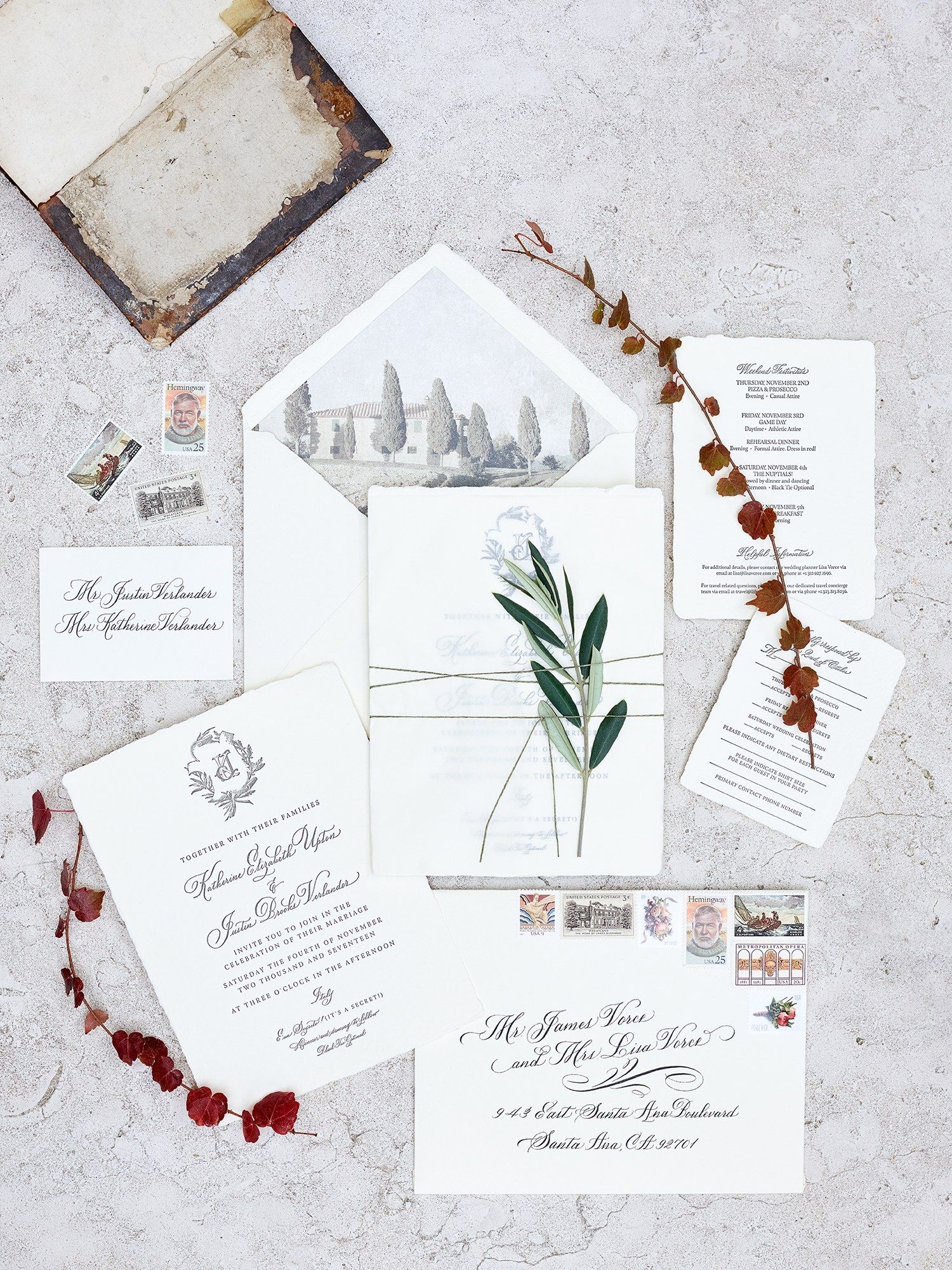 Italian Romance Inside Kate Upton And Justin Verlander's Whirlwind Wedding Weekend In Tuscany: Exquisite Tuscan Wedding Invitations At Websimilar.org