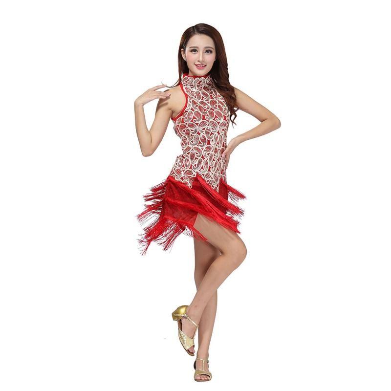 Latin Dance Dress Salsa Ballroom Dance Competition Fringe Tassel Dress Costume