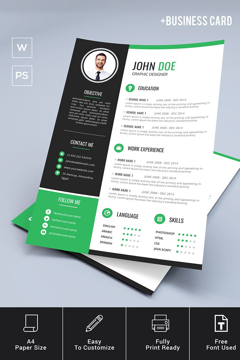 john doe resume template  business card resume template  76308