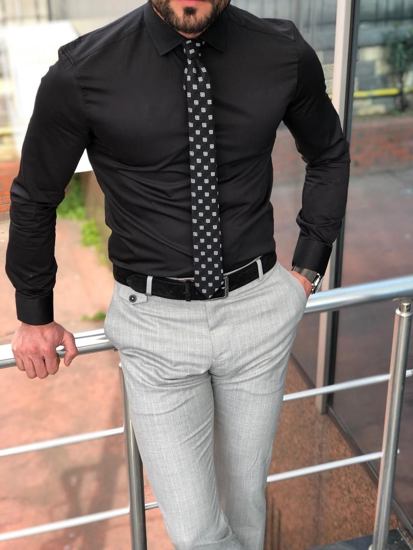 1 Kingston Slim Fit Black Shirt Mcr Tailor Black Shirt Men Fashion Casual Outfits Mens Shirt Dress [ 1440 x 1080 Pixel ]