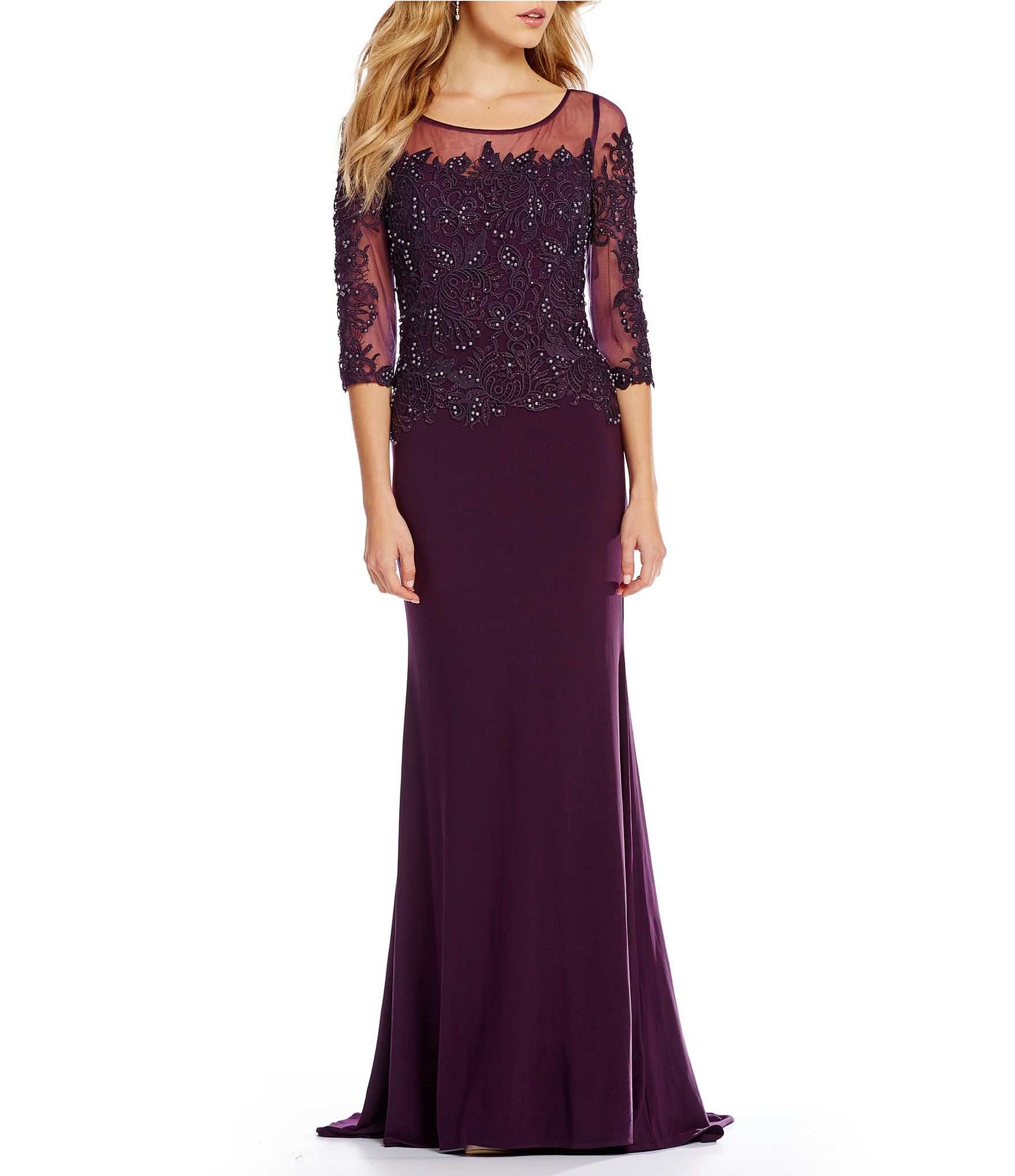f0ed0221a6e Shop for MGNY Madeline Gardner New York Beaded Lace Jersey Gown at Dillards.com.  Visit Dillards.com to find clothing