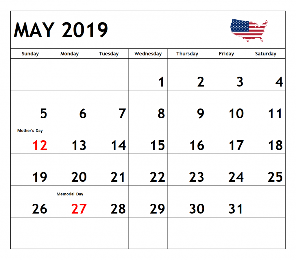 May 2019 Calendar In Pdf Word Excel Printable Template With