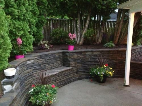4 In X 12 In X 7 5 In Charcoal Tan Concrete Retaining Wall Block 86935 The Home Depot Home Landscaping Backyard Remodel Sloped Garden