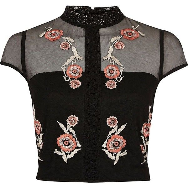 23165e67c1a River Island Black floral embroidered cap sleeve crop top ($56) ❤ liked on Polyvore  featuring tops, crop top, shirts, black, crop tops / bralets, women, ...