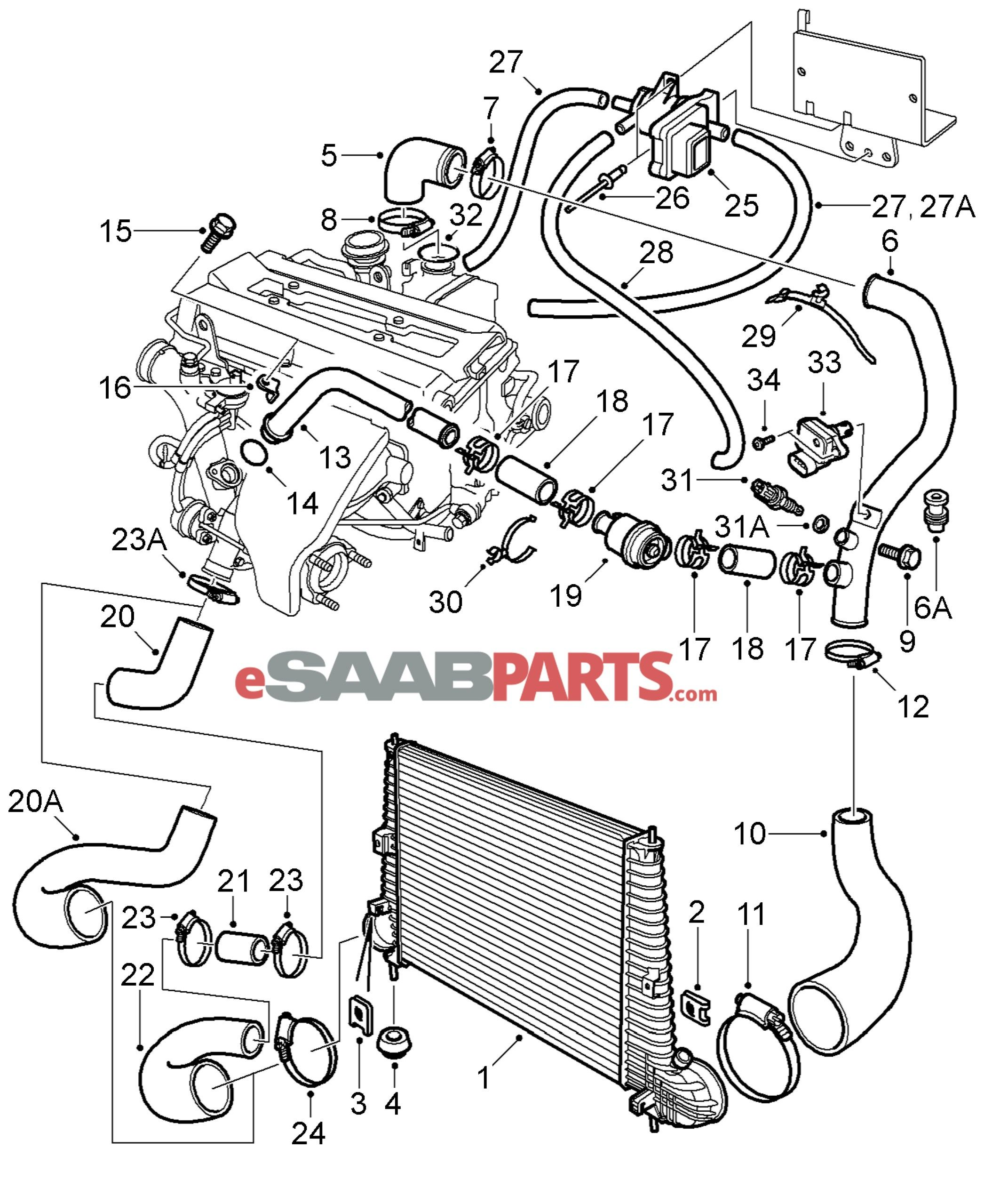 saab 9 5 engine diagram 2006 saab 9 3 cooling system diagram 2000 2000 saab 9 3 engine diagrams [ 2092 x 2558 Pixel ]