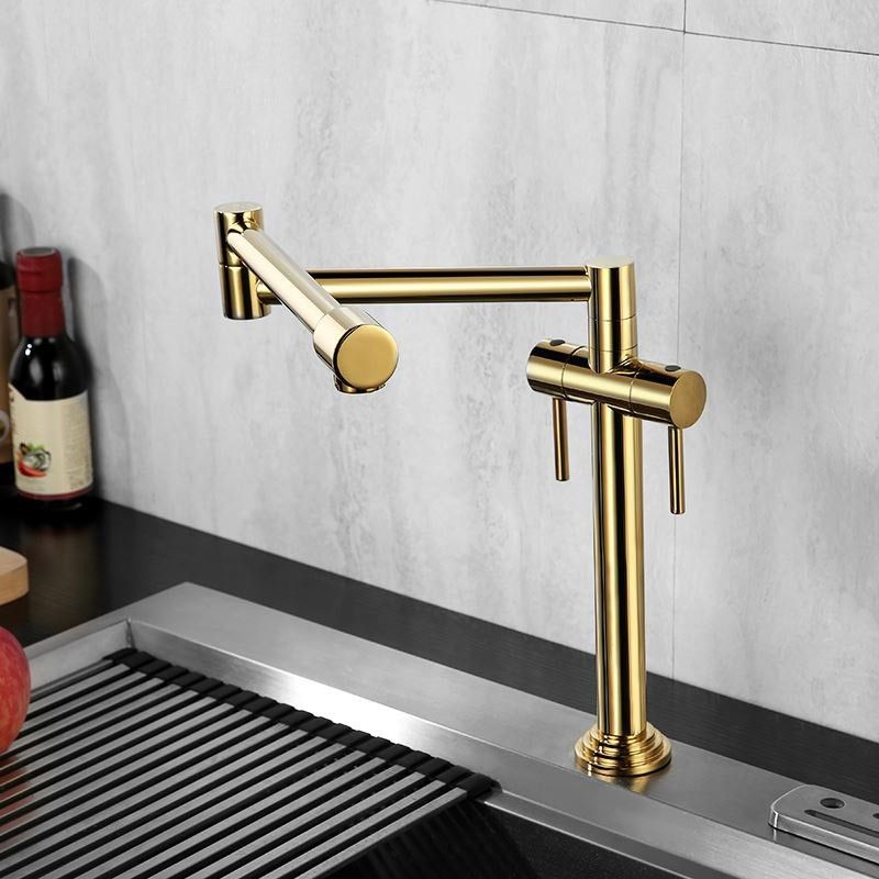 Contemporary Deck Mount Pot Filler Kitchen Faucet Retractable In Gold Chrome Brushed Nickel Antique Black Solid Brass In 2020 Pot Filler Kitchen Pot Filler Faucet