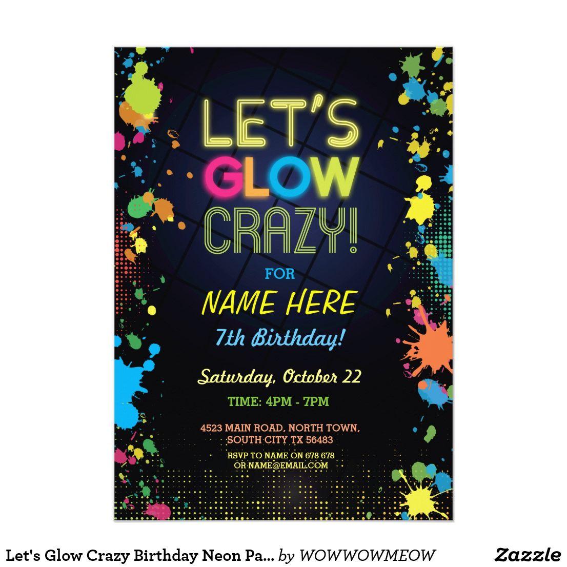 Let's Glow Invitations