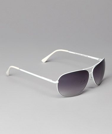 White & Gray Thin Frame Sunglasses by 365 Fashions on #zulily today!