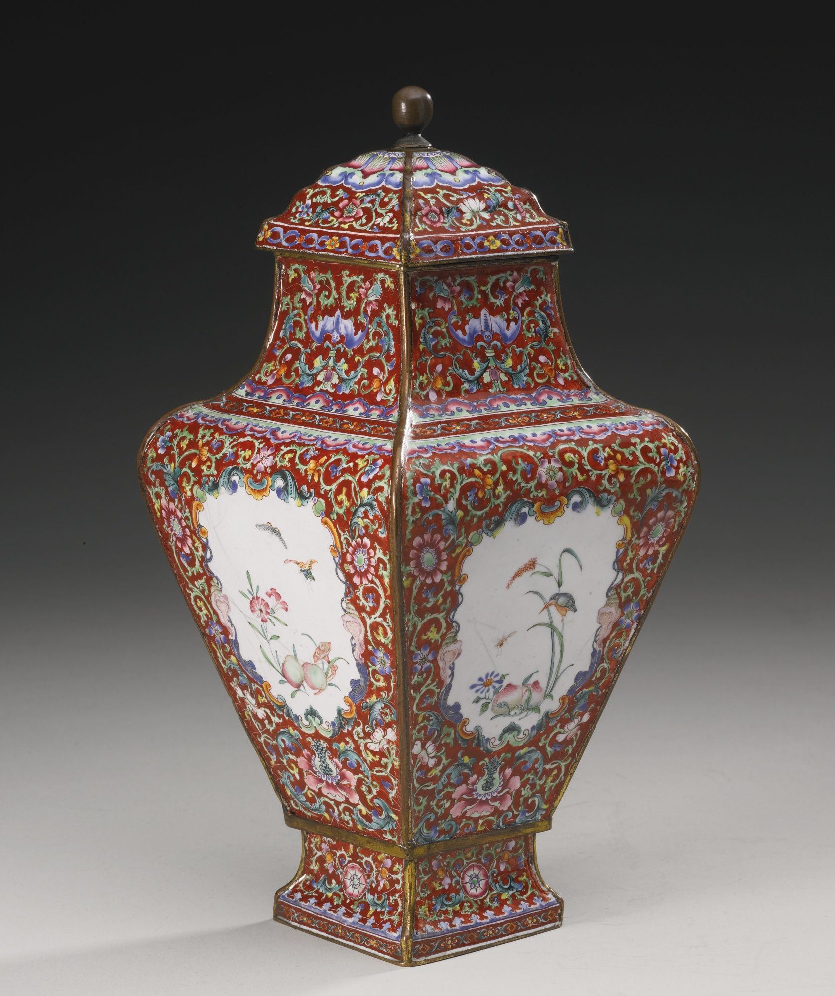 A RUBY-GROUND ENAMEL on metal VASE AND COVER QIANLONG MARK AND PERIOD of square section tapered towards the hollow splayed base, 23.5 cm, 70K