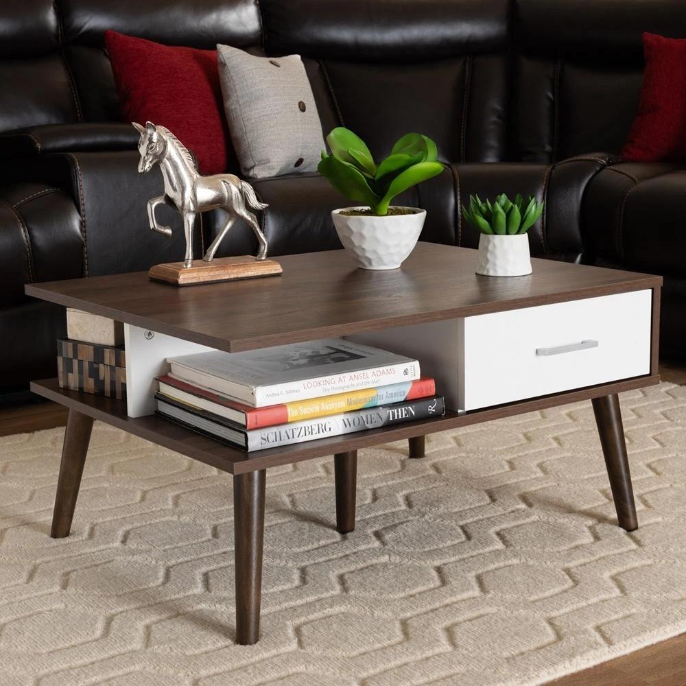 Merlin Mid Century Modern Walnut And White 2 Drawer Wood Coffee Table Coffee Table Wood Coffee Table Solid Wood Coffee Table [ 1000 x 1000 Pixel ]