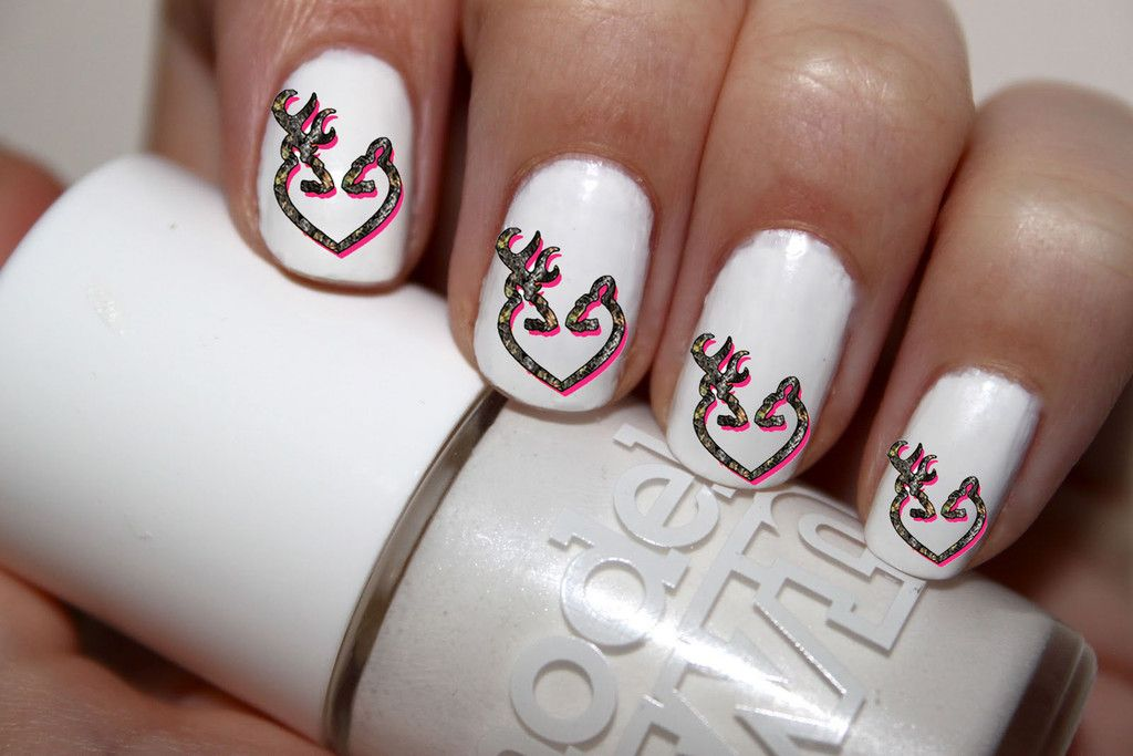 50 pc Pink Camo DBL Deer Buck N Doe Nail Decals Nail Art Nail ...