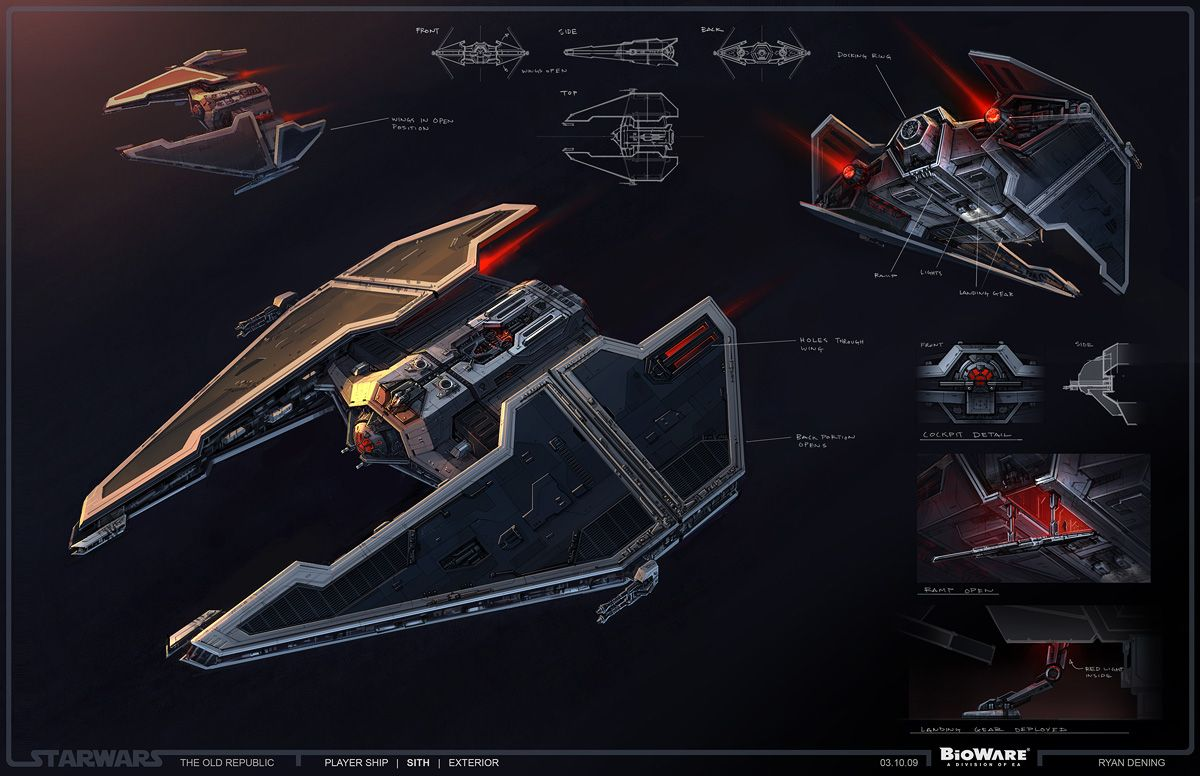 SWTOR Concept Art - Sith Ship, Fury-class Interceptor // by Ryan Dening