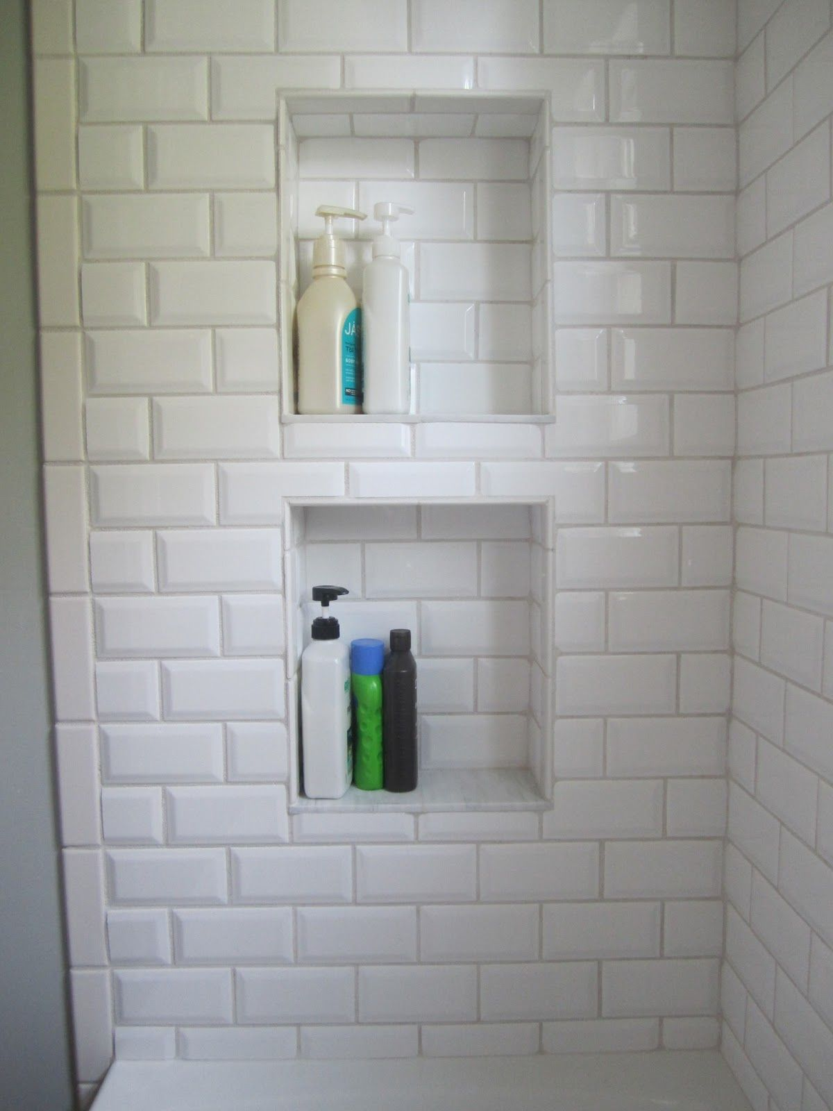 shower niche beveled subway tile (would put basketweave from the ...