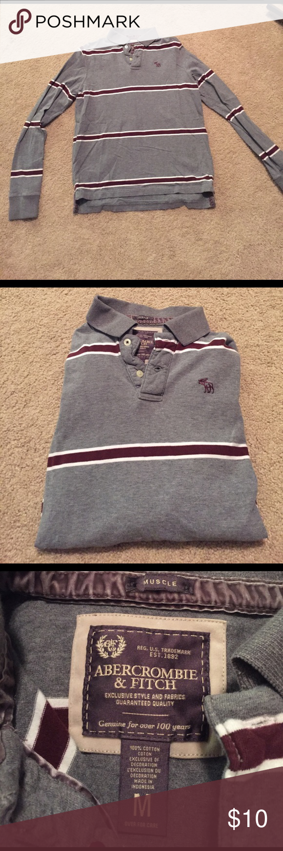 Abercrombie & Fitch long sleeve polo Men's Abercrombie & Fitch long sleeve polo shirt. Abercrombie & Fitch Shirts Polos