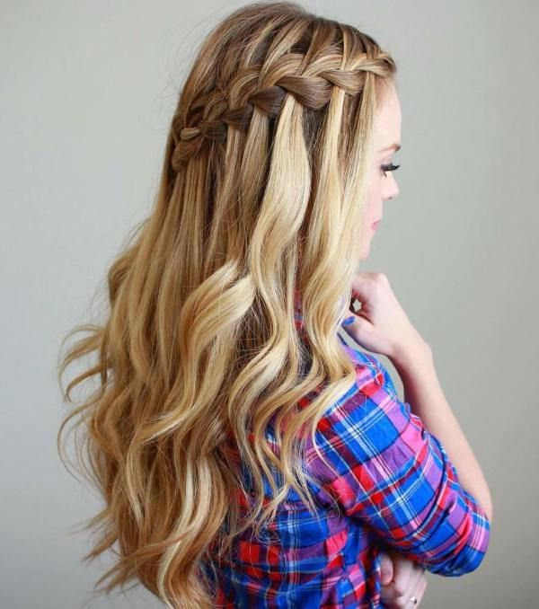 40 Flowing Waterfall Braid Styles | Pinterest | Half updo, Updo and ...