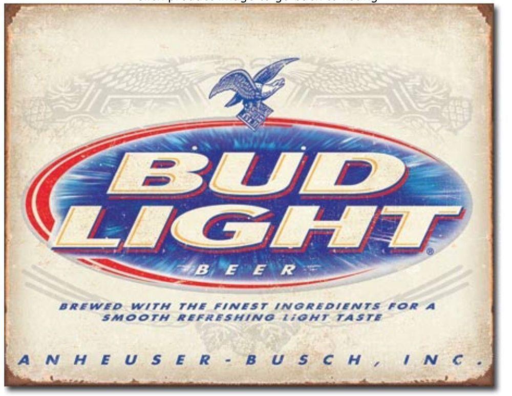 Budweiser Rustic Vintage Wall Sign Tin Metal 30cm Bottle Top Bar Pub Man Cave