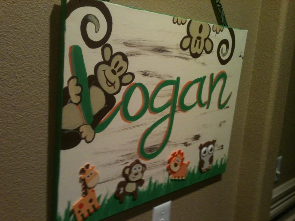 Name Painting For Little Boys Room Jungle Themed