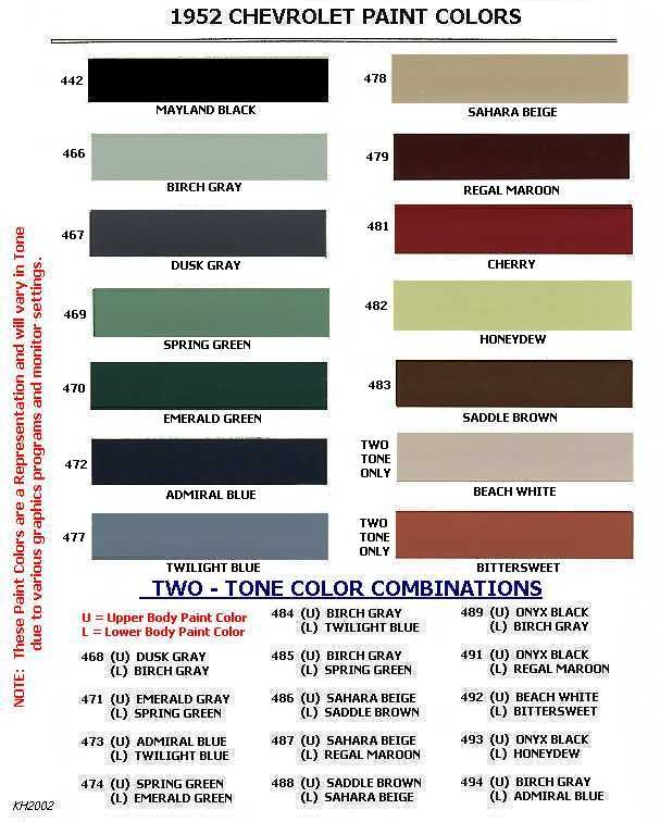 White Diamond Truck Color Code: COE Colors For 1952 -