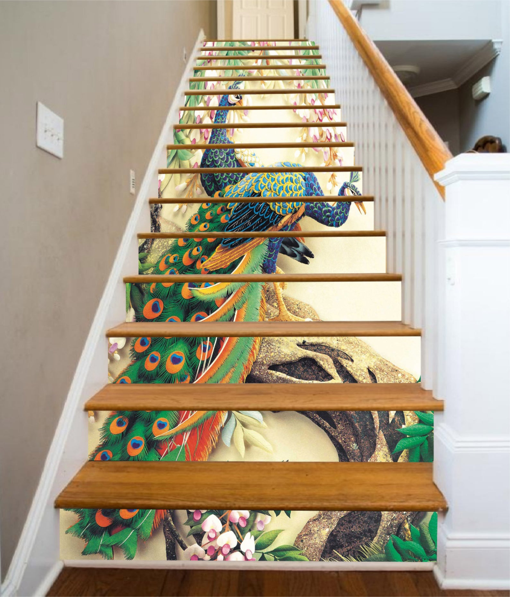 3d Peacock E161 Pattern Tile Marble Stair Risers Decoration Etsy Vinyl Wallpaper Stair Risers Stairs Vinyl