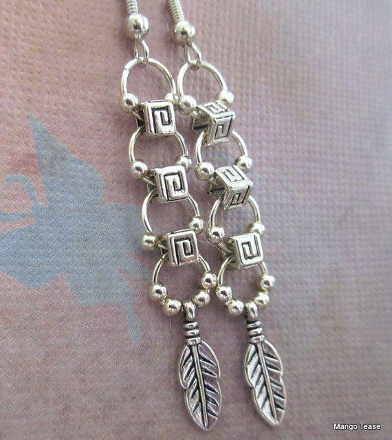 Silver Metal Dangle Hoop Feather Earrings, Bohemian Style ...
