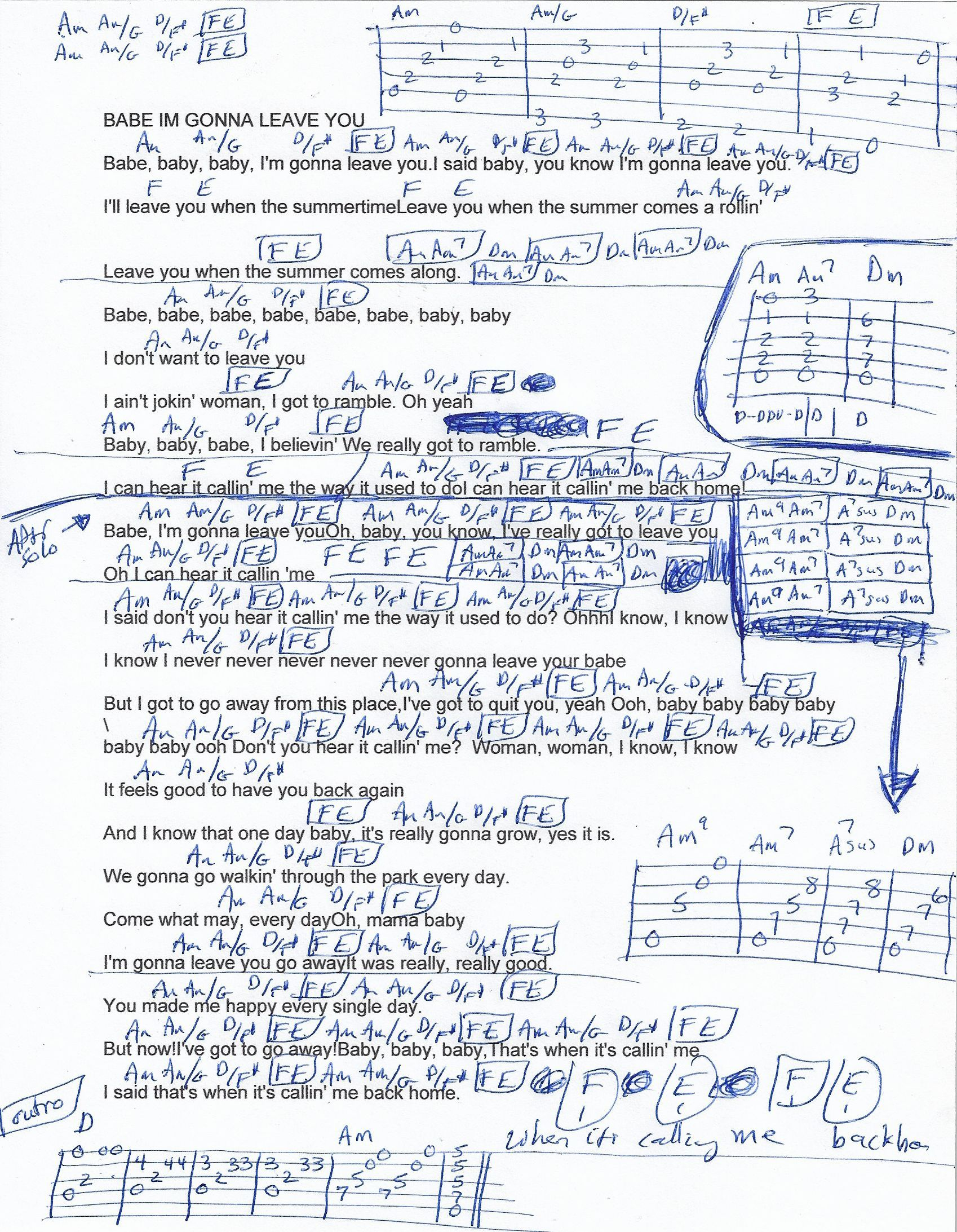 Babe Im Gonna Leave You Led Zeppelin Guitar Chord Chart Music