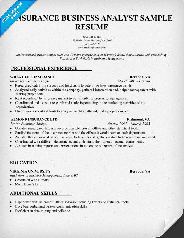 Insurance Business Analyst Resume Sample Resume Samples Across - business management resume examples
