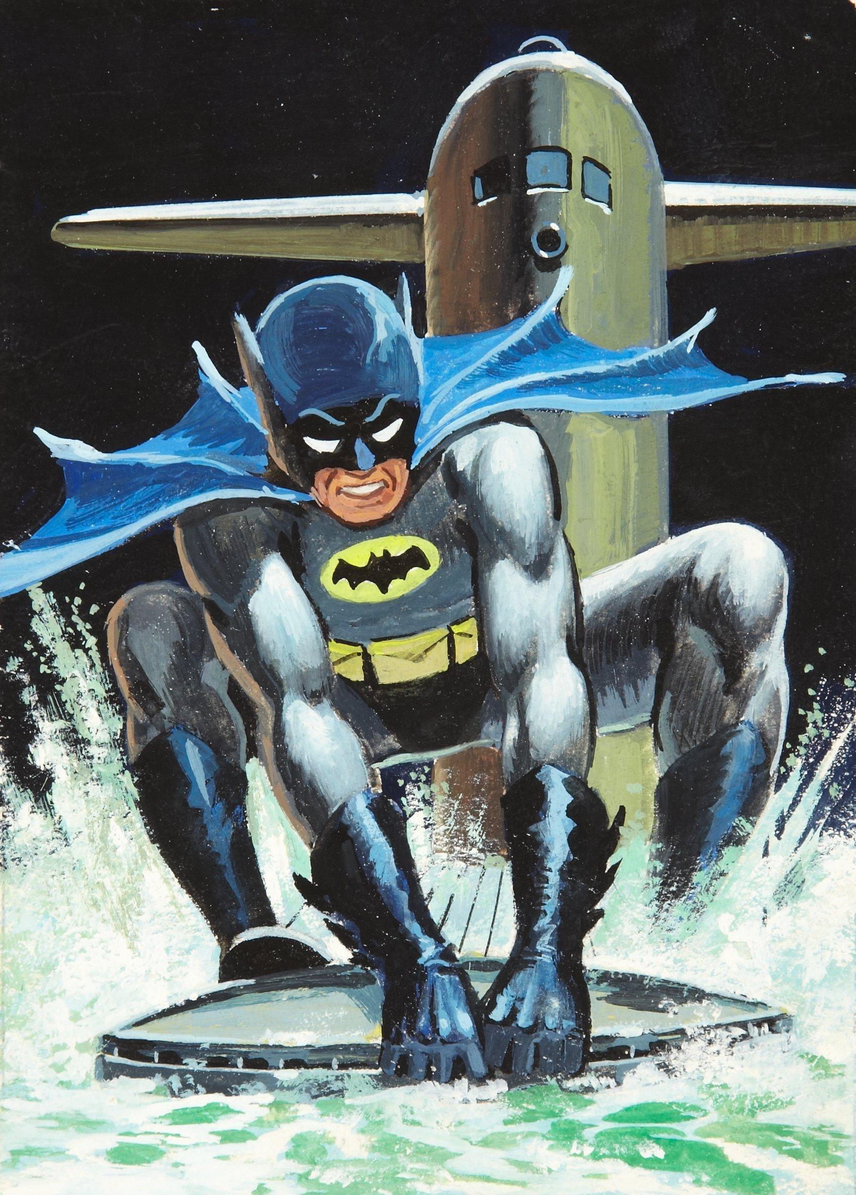 Norm Saunders & Bob Powell - Batman Trading Card Series 2 #39A (Topps 1966) Gouache