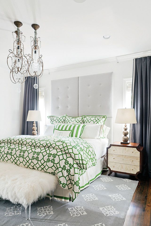 Bedroom  Transitional Bedroom Design Ideas  Transitional bedroom with white  and green trellis bedding Bedroom  Transitional Bedroom Design Ideas  Transitional bedroom  . Green Bedroom Design Ideas. Home Design Ideas